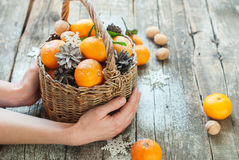 Tangerines Χριστουγέννων ρωσικές διακοπές παράδοσης Στοκ φωτογραφίες με δικαίωμα ελεύθερης χρήσης