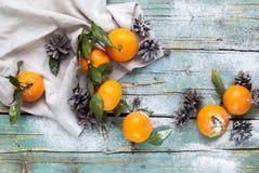 Tangerines Χριστουγέννων τοπ διακοπές παράδοσης άποψης Στοκ φωτογραφία με δικαίωμα ελεύθερης χρήσης