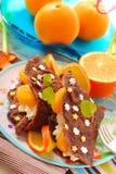 tangerines блинчиков коттеджа сыра Стоковая Фотография