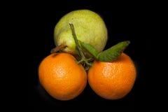 2 tangerines и груша Стоковая Фотография RF