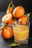 Tangerines с листьями и стеклом сока на темной предпосылке Стоковое фото RF