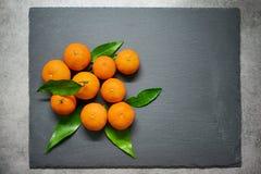 Tangerines с листьями на доске шифера Стоковые Изображения RF