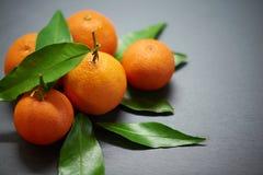 Tangerines с листьями на предпосылке шифера Стоковое Изображение