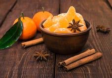 Tangerines с ручкой циннамона и anisetree Стоковое Изображение