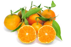 Tangerines. Some tangerines isolated on a white background Royalty Free Stock Images