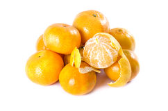 Tangerines. Mandarin on white background, sweet variety Royalty Free Stock Photos