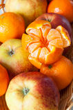 Tangerines and apples Stock Images