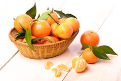 Tangerines in basket Royalty Free Stock Photography