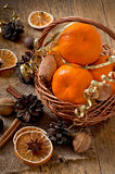 Tangerines in a basket Royalty Free Stock Image