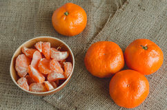 Tangerines on canvas, toned Stock Photography
