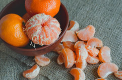 Tangerines on canvas, toned Stock Photos