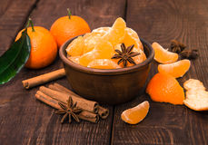 Tangerines with cinnamon stick and anisetree Royalty Free Stock Photography