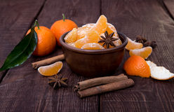 Tangerines with cinnamon stick and anisetree Stock Images