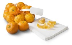 Tangerines, clementines on white Royalty Free Stock Image