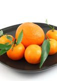 Tangerines com folha Imagem de Stock