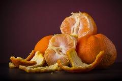Tangerines on dark background Stock Photo