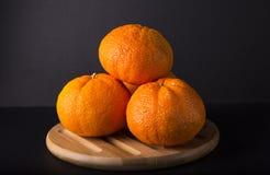 Tangerines on dark background Stock Image