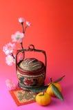 Tangerines e cesta de vime Imagem de Stock