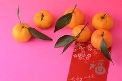 Tangerines e pacotes vermelhos Fotografia de Stock