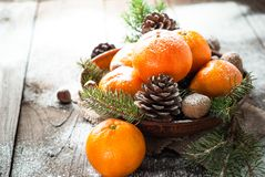 Tangerines, fir tree, pinecones and nuts. Christmas food decorations. Stock Photos