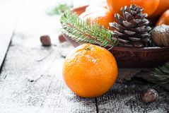 Tangerines, fir tree, pinecones and nuts. Christmas food decorations. Royalty Free Stock Photo
