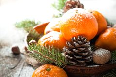 Tangerines, fir tree, pinecones and nuts. Christmas food decorations. Royalty Free Stock Photos