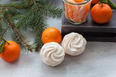 Tangerines flavour marshmallows or zephyr Christmas treat. With branches of a fir tree Stock Photography