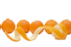 Tangerines frescos isolados no fundo branco Foto de Stock
