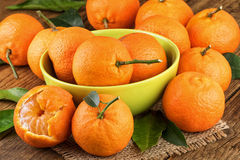Tangerines in green Bowl Stock Images