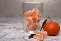 Tangerines i en glass vase Fotografering för Bildbyråer
