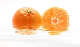 Tangerines inside the water Stock Photos