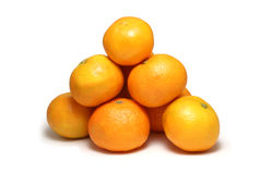 Tangerines isolated on white. Sweet yellow tangerines isolated on white stock images