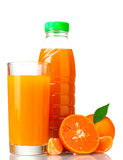 Tangerines, juice glass and bottle Royalty Free Stock Images