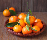 Tangerines with leaflets Stock Photo