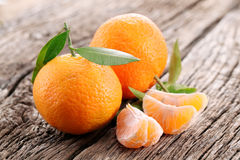 Tangerines with leaves Stock Photography