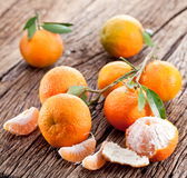 Tangerines with leaves. Stock Photo