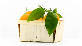 Tangerines with leaves in basket stock video footage