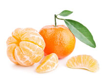 Tangerines with leaves isolated on white Royalty Free Stock Image