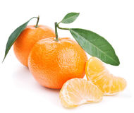 Tangerines with leaves isolated on white Royalty Free Stock Photos