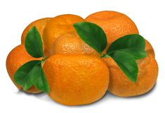 Tangerines with leaves isolated on a white background. There is a shadow. Excellent quality.