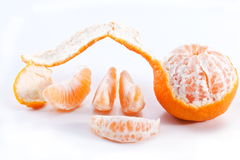 Tangerines with leaves. Royalty Free Stock Image