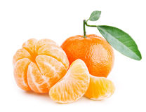 Tangerines with leaves on white background Royalty Free Stock Images
