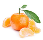 Tangerines with leaves  on white Stock Photos