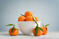Tangerines with leaves Royalty Free Stock Images