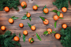 Tangerines with leaves on wooden surface. Citrus fruit Stock Image