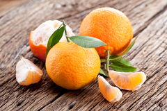 Tangerines with leaves. Royalty Free Stock Photography