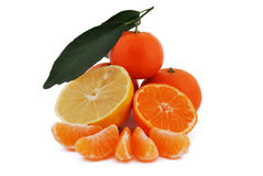 Tangerines and lemon Royalty Free Stock Photos