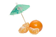 Tangerines with thr umbrella on white background Stock Photos