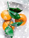 Tangerines, mandarines, clementines in winter holiday time, citrus fruits on plate with glowing snow and glitter on flatlay. Christmas, New Years Eve and food royalty free stock photos