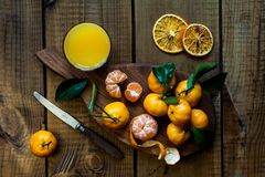 Tangerines citrus fruits with leaves. stock photography